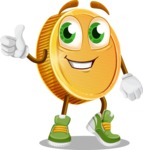 Cartoon Coin Vector Character - Giving Thumbs Up