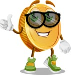 Cartoon Coin Vector Character - Being Cool with Sunglasses