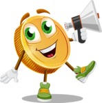 Cartoon Coin Vector Character - Holding a Loudspeaker