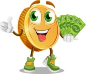 Cartoon Coin Vector Character - Holding Cash Money Banknotes