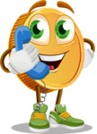 Cartoon Coin Vector Character - Talking on Phone