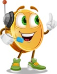 Cartoon Coin Vector Character - With Headphones