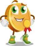 Cartoon Coin Vector Character - Winning a Prize