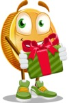 Cartoon Coin Vector Character - Holding a Gift