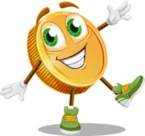 Cartoon Coin Vector Character - Waving with a Hand