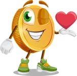Cartoon Coin Vector Character - Being Romantic With Heart