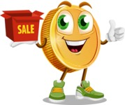 Cartoon Coin Vector Character - With Sale Boxes