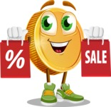 Cartoon Coin Vector Character - With Shopping Bags