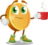 Cartoon Coin Vector Character - Drinking Cup of Coffee