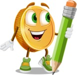 Cartoon Coin Vector Character - Holding a Pencil