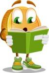 Cartoon Coin Vector Character - Reading a Book
