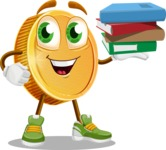 Cartoon Coin Vector Character - Holding Education Books