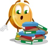 Cartoon Coin Vector Character - Learning with Books