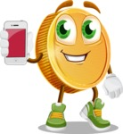 Cartoon Coin Vector Character - Holding a Mobile Phone