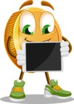 Cartoon Coin Vector Character - Showing Blank Tablet