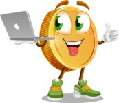 Cartoon Coin Vector Character - With a Laptop