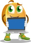 Cartoon Coin Vector Character - Showing a Blank Computer Screen
