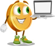 Cartoon Coin Vector Character - Presenting on Laptop