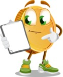 Cartoon Coin Vector Character - Showing a Notepad