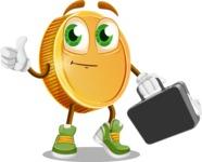 Cartoon Coin Vector Character - Briefcase 1
