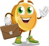 Cartoon Coin Vector Character - Briefcase 2