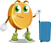 Cartoon Coin Vector Character - Going to vacation with a Suitcase