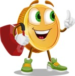 Cartoon Coin Vector Character - Traveling with Suitcase