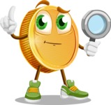 Cartoon Coin Vector Character - Searching with magnifying glass