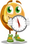 Cartoon Coin Vector Character - Holding clock