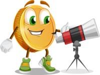 Cartoon Coin Vector Character - Looking through telescope