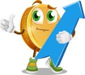 Cartoon Coin Vector Character - with Up arrow