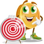 Cartoon Coin Vector Character - With Target
