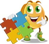 Cartoon Coin Vector Character - with Puzzle