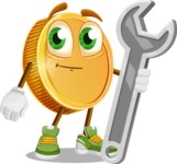 Cartoon Coin Vector Character - with Repairing tool - wrench