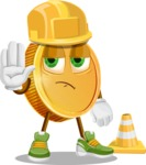 Cartoon Coin Vector Character - as a Construction worker