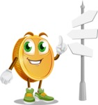 Cartoon Coin Vector Character - Choosing Way with Street Sign pointing in all directions