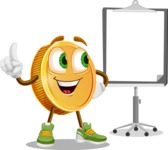 Cartoon Coin Vector Character - With Blank Presentation Board