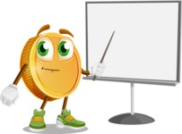 Cartoon Coin Vector Character - Pointing with a Pointer on Blank Presentation Board