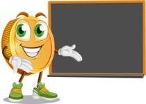 Cartoon Coin Vector Character - Presenting on Blackboard
