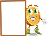 Cartoon Coin Vector Character - With Whiteboard and Smiling