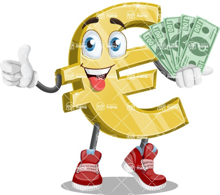 Euro Wealthon Vector Cartoon Character Show Me The Money Graphicmama