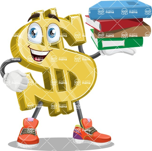 Dollar Sign Cartoon Vector Character Holding Education Books Graphicmama