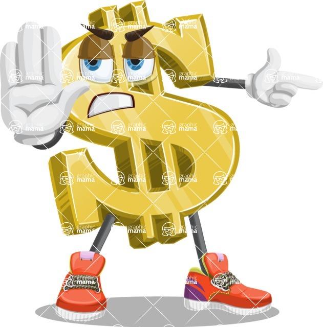 Dollar Sign Cartoon Vector Character AKA Dollarman Bucks