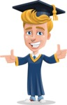 Graduate Student Cartoon Vector Character AKA Greg the Graduate Boy - Point 2