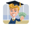 Graduate Student Cartoon Vector Character AKA Greg the Graduate Boy - Shape 2
