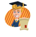 Graduate Student Cartoon Vector Character AKA Greg the Graduate Boy - Shape 4