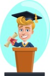 Graduate Student Cartoon Vector Character AKA Greg the Graduate Boy - Shape 5