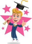 Graduate Student Cartoon Vector Character AKA Greg the Graduate Boy - Shape 6