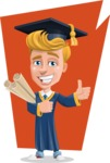 Graduate Student Cartoon Vector Character AKA Greg the Graduate Boy - Shape 7