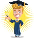 Graduate Student Cartoon Vector Character AKA Greg the Graduate Boy - Shape 8
